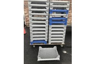 (26) Plastic Stackable Bakery Tray and Cart/Steel Dolly, FDA Compliant
