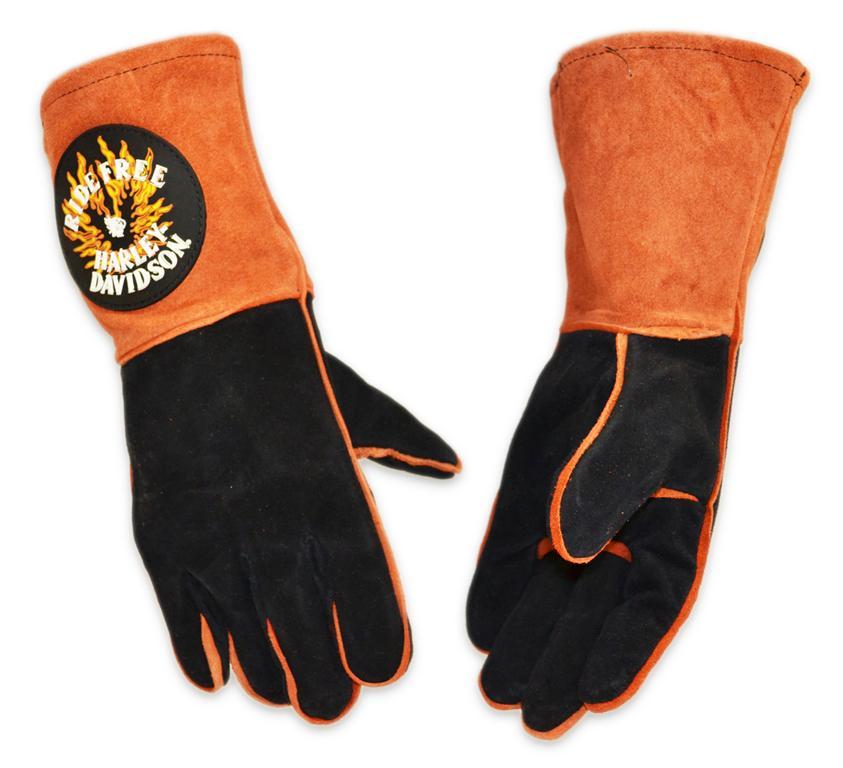 Harley-Davidson Harley-Davidson RIDE FREE Orange & Black Leather Kevlar Welding Gloves
