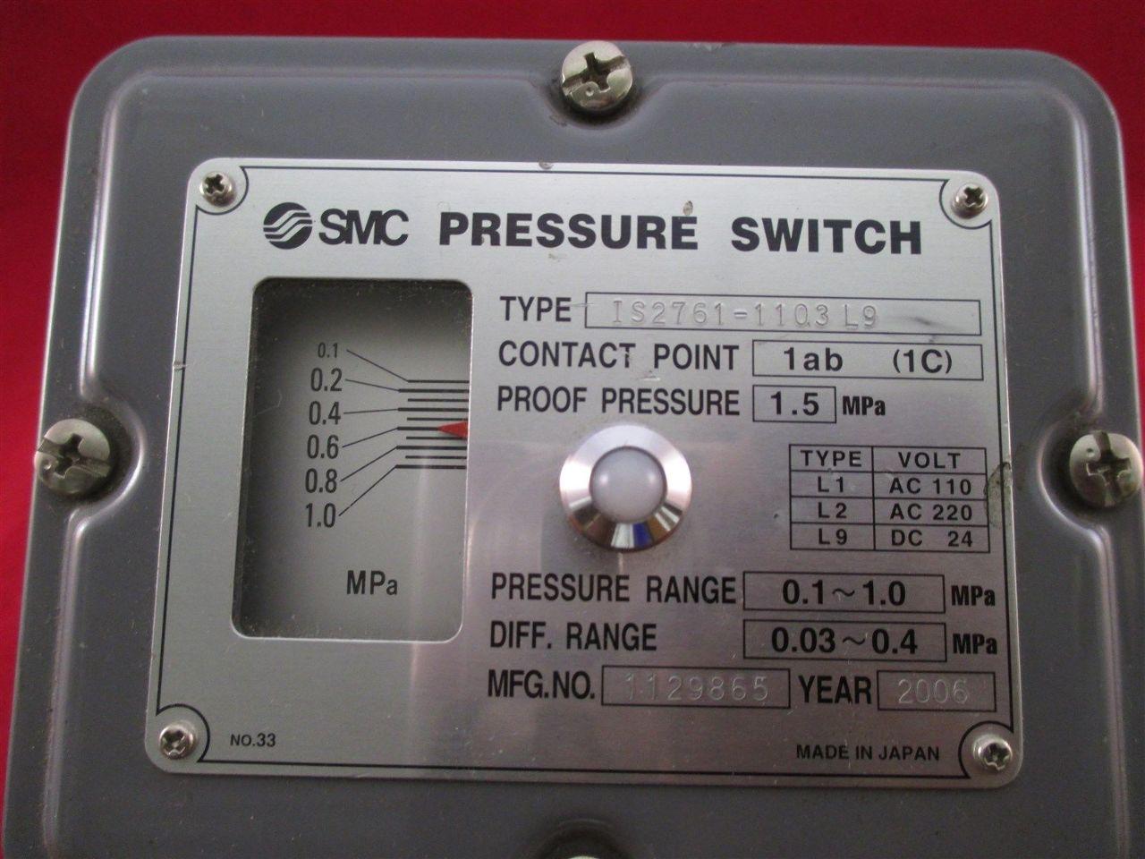 Smc Pressure Switch Is2761 1103 Process Industrial Surplus