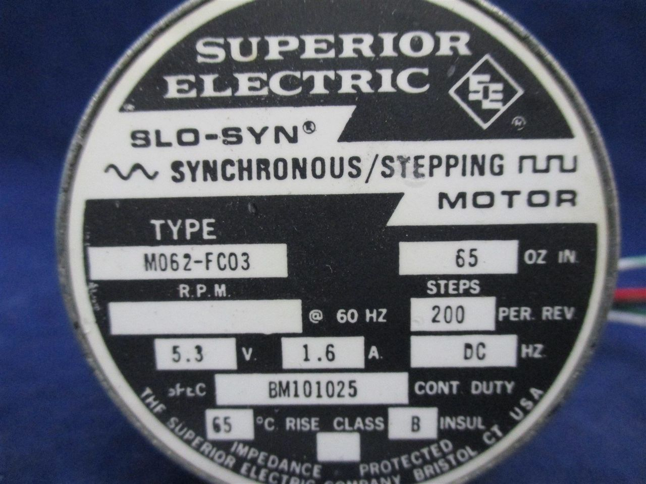 Superior electric m062 fc03 slo syn stepping motor for Superior electric slo syn motor