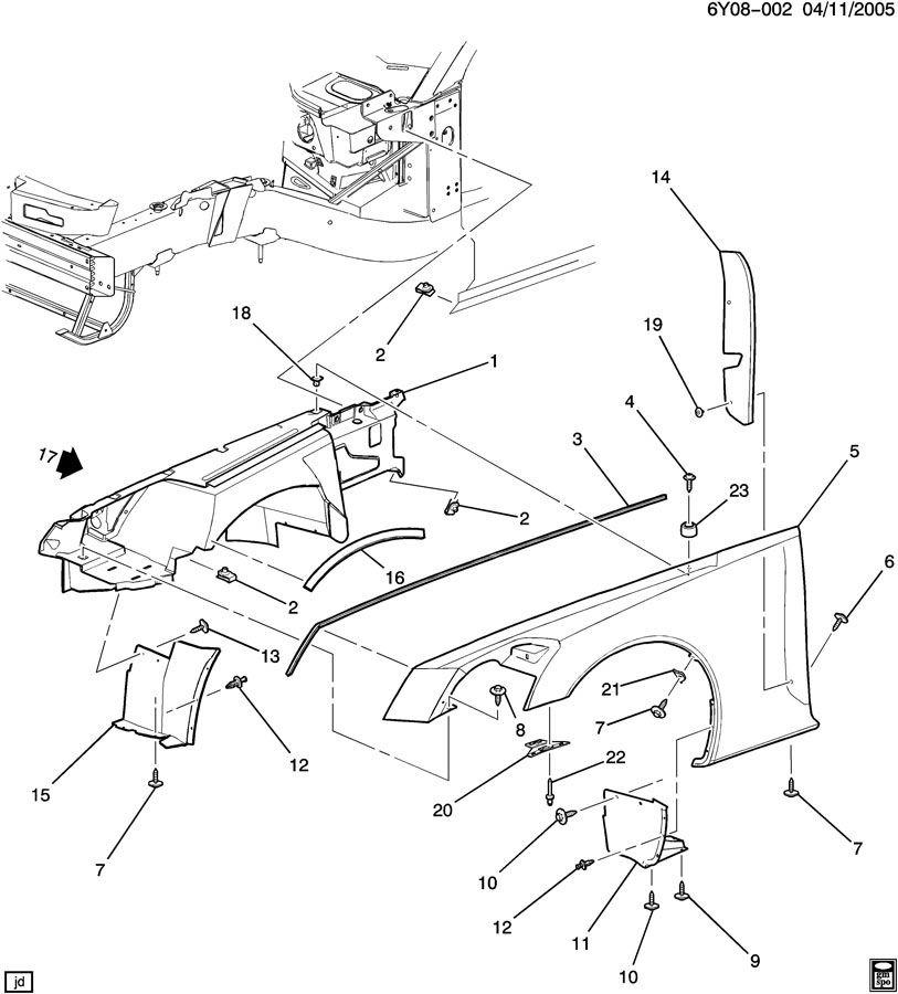 cadillac xlr front fender rear insulator foam  lh  u0026 rh