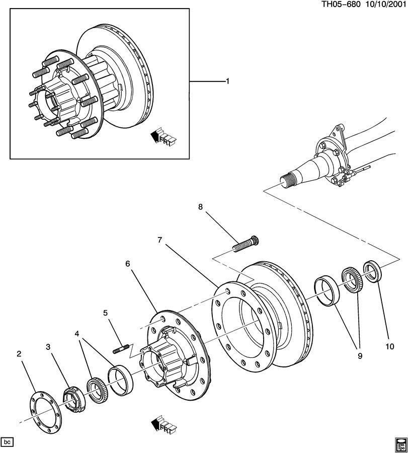 03 kodiak rear wheel bearing axle hub nut 15045903