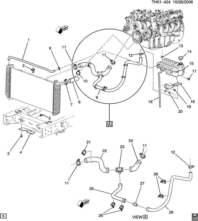 Topkick Kodiak C C Upper Radiator Hose New Oem on 2007 Hummer H3 Parts Diagram