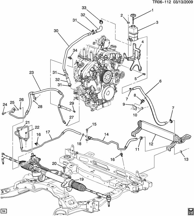 07 11 Acadia Enclave Traverse Power Steering Pressure Hose Line 20779364 on 2002 saturn wiring diagrams