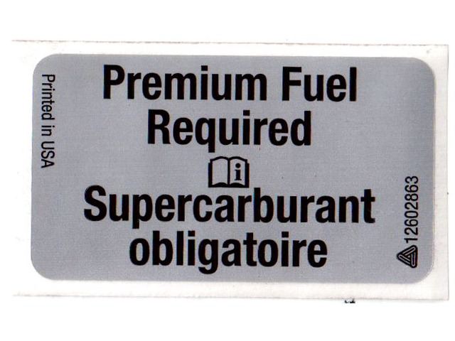 Genuine Gm Oem Premium Fuel Required Label Sticker Decal