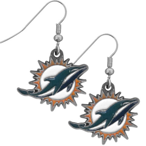Nfl Licensed Football Miami Dolphins Team Dangle Earrings