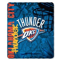 NBA Licensed Basketball Oklahoma City Thunder Hard Knocks Fleece Throw Blanket