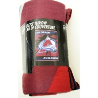 NHL Licensed Hockey Colorado Avalanche Fleece Throw Blanket Ice Design