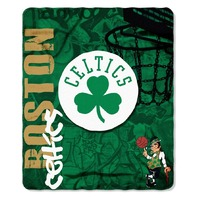 NBA Licensed Basketball Boston Celtics Hard Knocks Fleece Throw Blanket