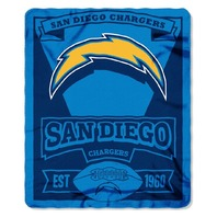 NFL Licensed Football San Diego Chargers Marque Fleece Throw Blanket