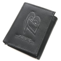 NFL Licensed Football Baltimore Ravens Black Leather Tri Fold Wallet
