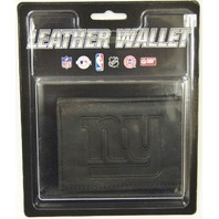 NFL Licensed Football New York Giants Black Leather Tri Fold Wallet