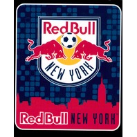 "MLS Licensed Fleece Throw New York Red Bull Soccer Team Futbol 50"" X 60"" Blanket"