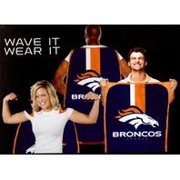 """NFL Licensed Denver Broncos Football 31.5""""x 47"""" Team Fan Flag Cape Banner"""