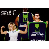 "NFL Licensed Seattle Seahawks Football 31.5""x 47"" Team Fan Flag Cape Banner"