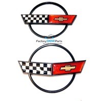 1984-1990 Corvette Emblem Front Bumper Rear Gas Door Set Kit