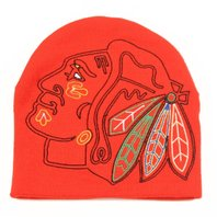 NHL Licensed Hockey Chicago Blackhawks Logo Hype Knit Beanie Hat - Uncuffed