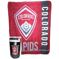 "MLS Licensed Fleece Throw Colorado Rapids Soccer Team Futbol 50"" X 60"" Blanket"