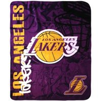 NBA Licensed Basketball Los Angeles LA Lakers Hard Knocks Fleece Throw Blanket
