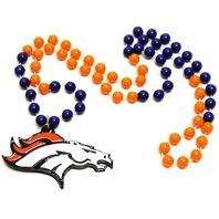 Denver Broncos NFL Licensed Football Mardi Gras Beads with Logo Medallion