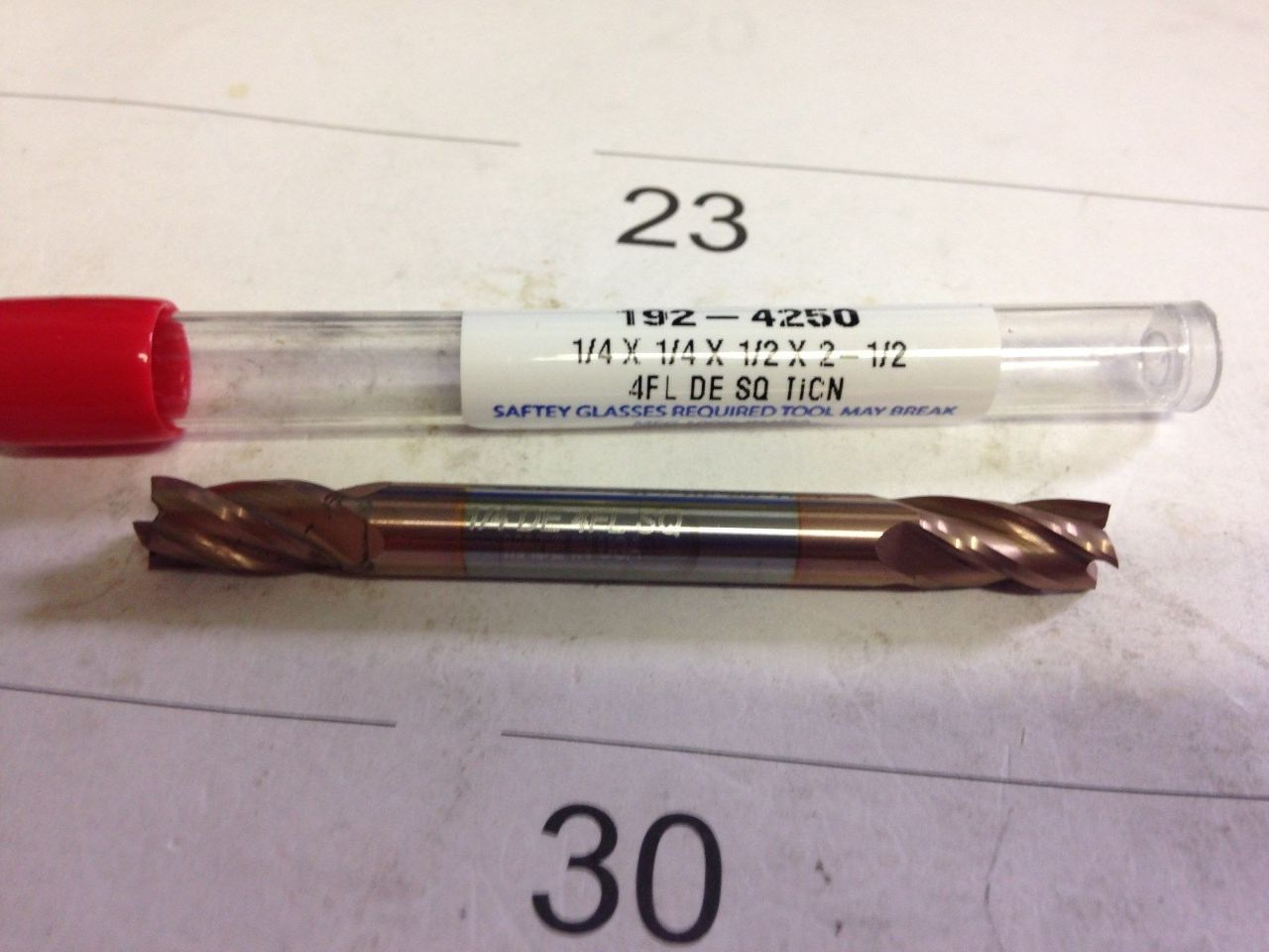 """1//4/"""" 4 FLUTE DOUBLE END STUB TiCN COATED CARBIDE END MILL"""