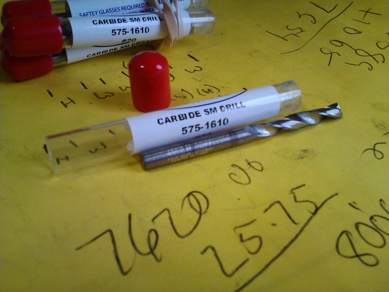 ".1610/"" #20 CARBIDE STANDARD LENGTH DRILL"