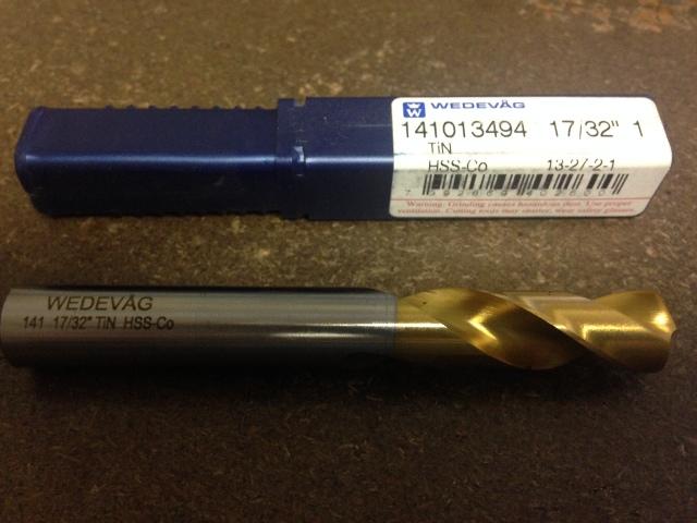 ".5313"" 17/32"" HSCO TiN COATED SCREW MACHINE LENGTH DRILL"