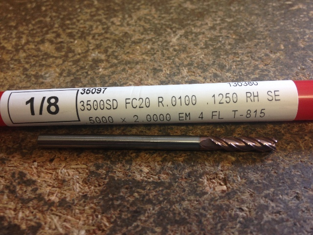 """1/8"""" 4 FLUTE SINGLE END VARIABLE HELIX FC20 COATED CARBIDE END MILL 0.10"""" RADIUS 1/8"""" X 1/2"""" X 2"""""""
