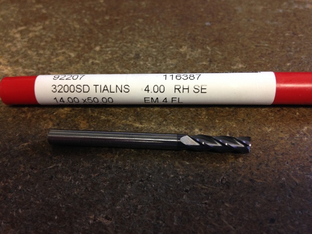 4mm 4 FLUTE SINGLE END TiAlN CARBIDE END MILL 4mm X 14mm X 4mm X 51mm