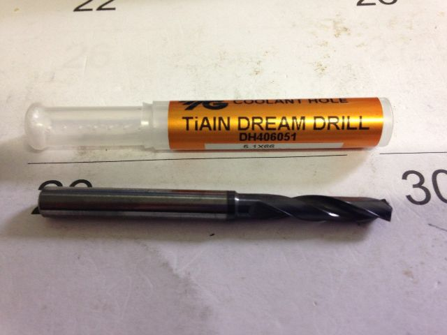 ".2008 ""5.1mm CARBIDE SHORT TIALN COATED COOLANT DREAM DRILL 5.1 x 6 x 66 x 28mm"