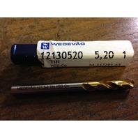 ".2047"" 5.2mm HSCO TiN COATED SCREW MACHINE LENGTH DRILL"