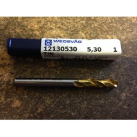 ".2087"" 5.3mm HSCO TiN COATED SCREW MACHINE LENGTH DRILL"
