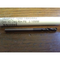 "1/8"" STUB LENGTH CARBIDE DRILL 1520FC7 .1250 X 1/8"" X 5/8"" X 2"""