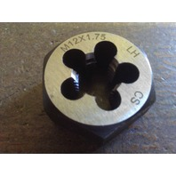 M12 X 1.25 LEFT HAND CARBON STEEL HEXAGONAL RE-THREADING DIE