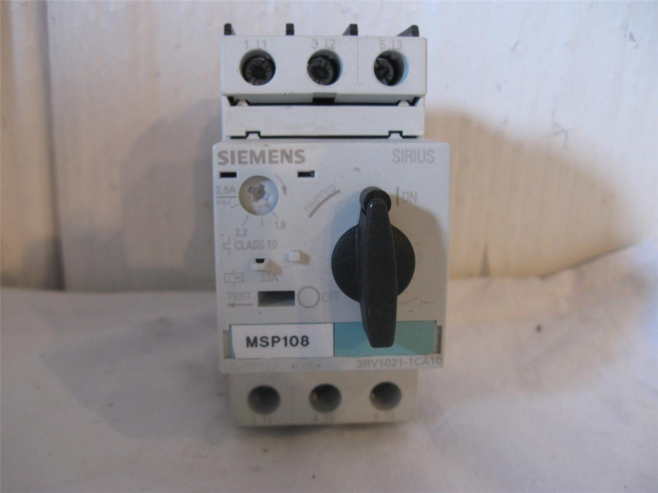Siemens 3rv1021 1ca10 Sirius Manual Motor Starter 1 8 2