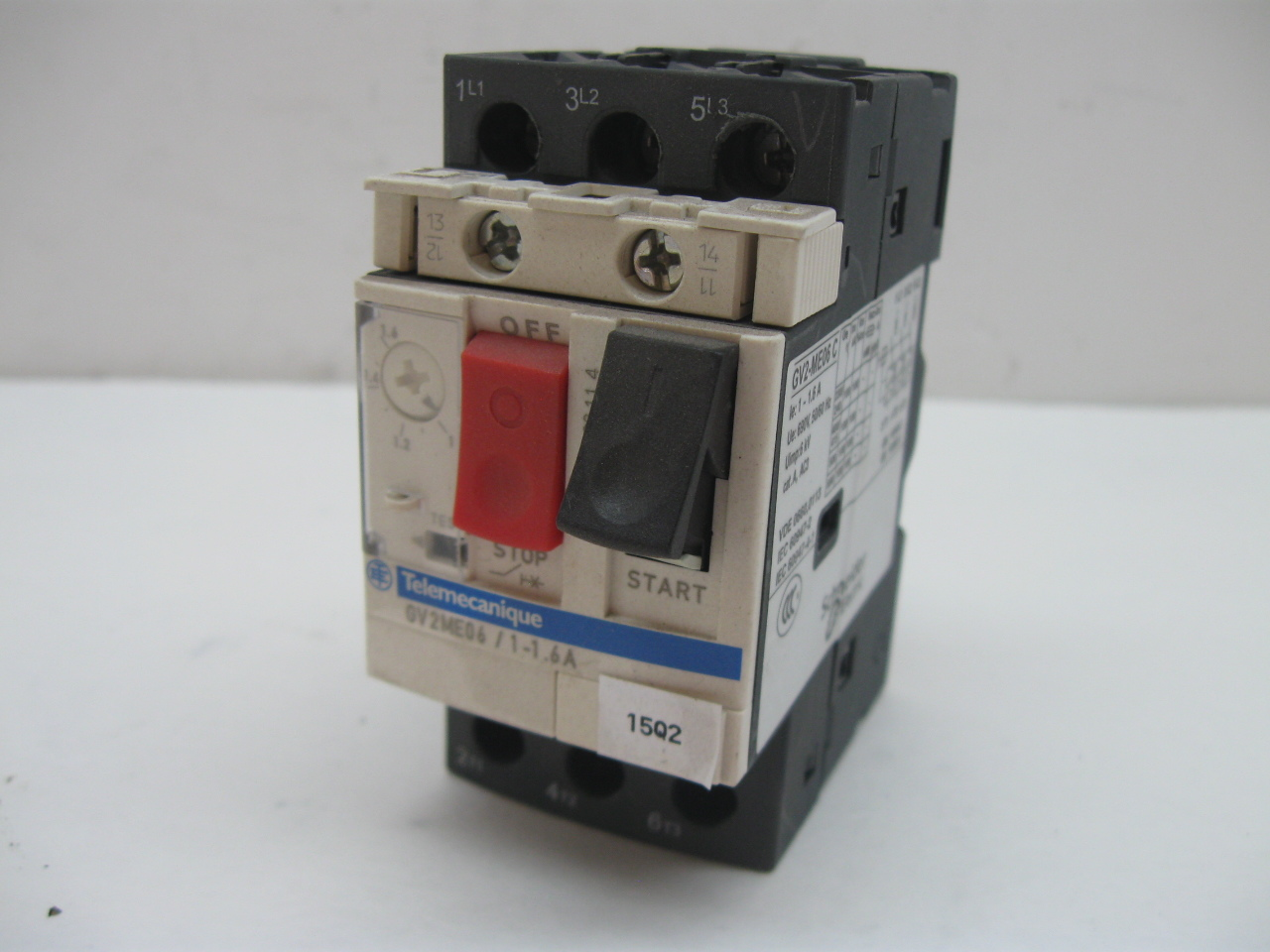 Telemecanique gv2 me06 1 1 6a manual motor starter with adjustable overload Telemecanique motor starter