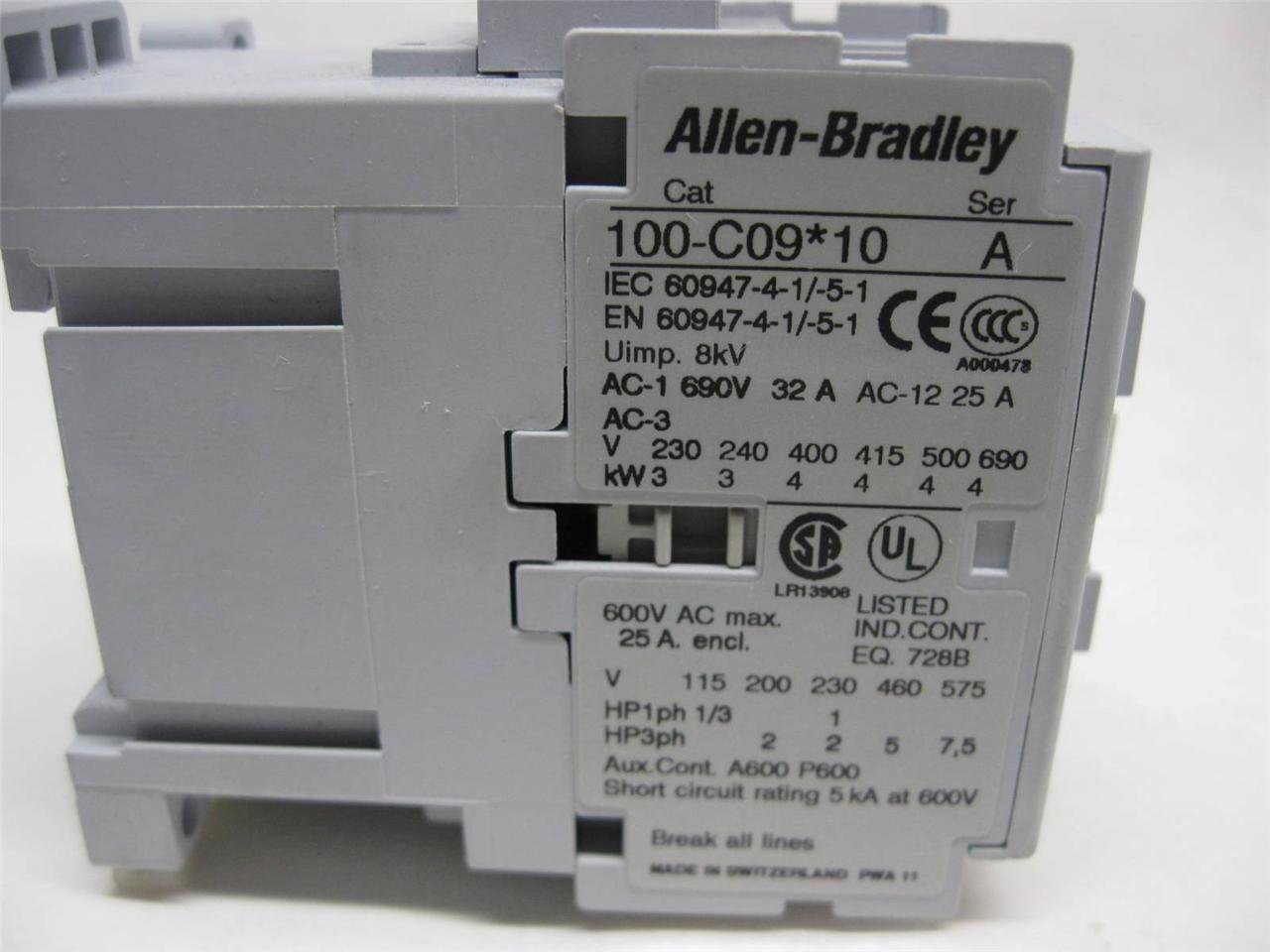 Allen Bradley 100 C09 10 Motor Starter 120 Vac Coil 25 Amp