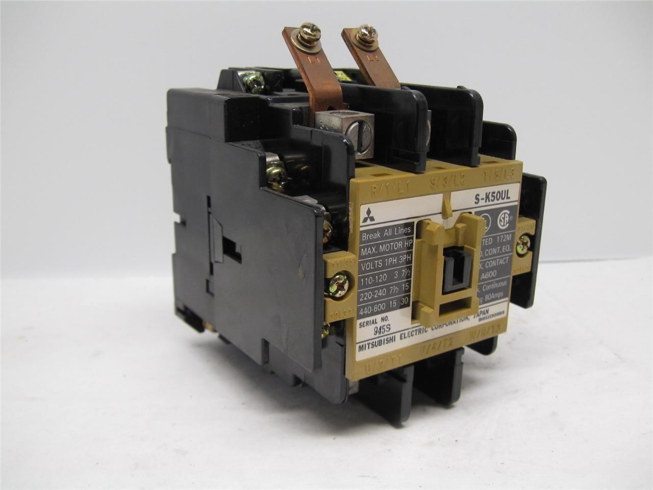 mitsubishi s k50ul magnetic contactor 120 vac coil 3 pole