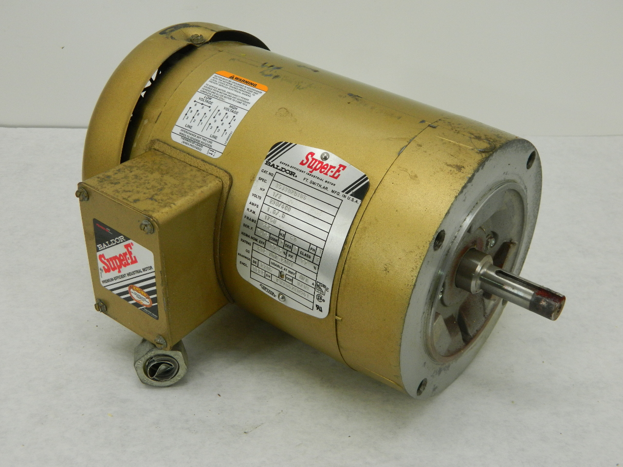 Baldor super e 0 5hp electric motor 230 460 vac 3 phase for Baldor electric motor parts