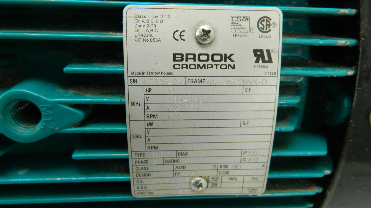 Brook crompton 10hp electric motor 1740 rpm 480vac 3 ph for 10 hp single phase motor amps