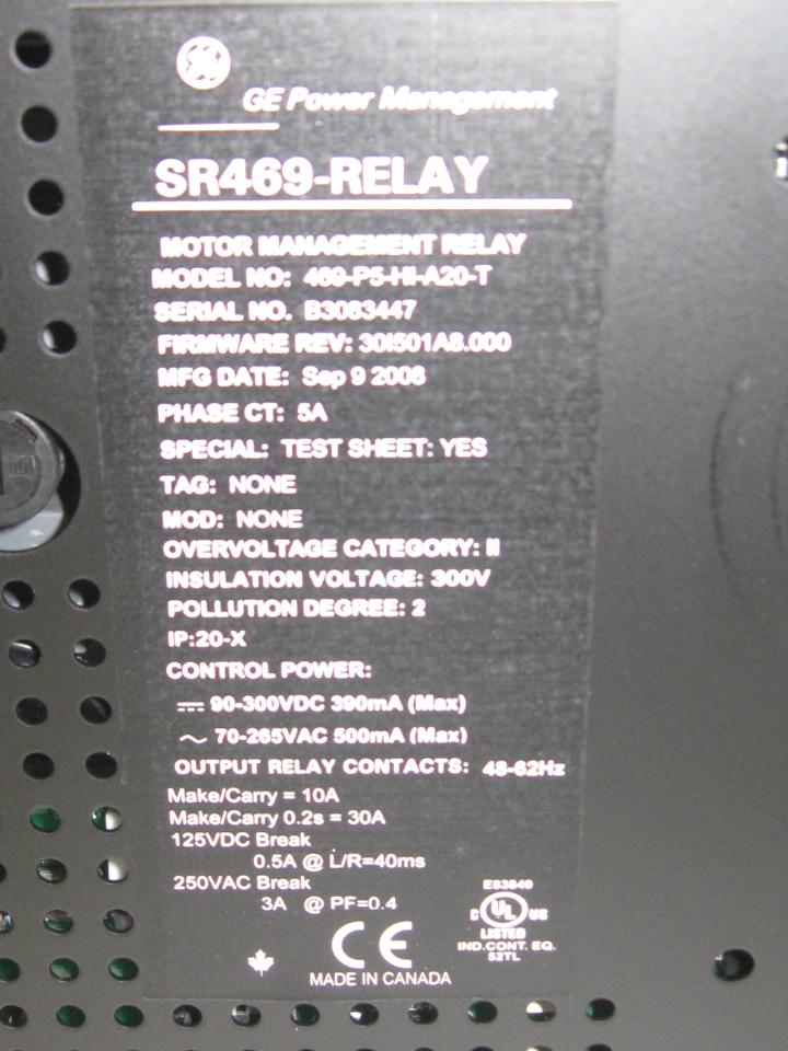 Ge Multilin 469 Motor Management Relay 469 P5 Hi A20 T W