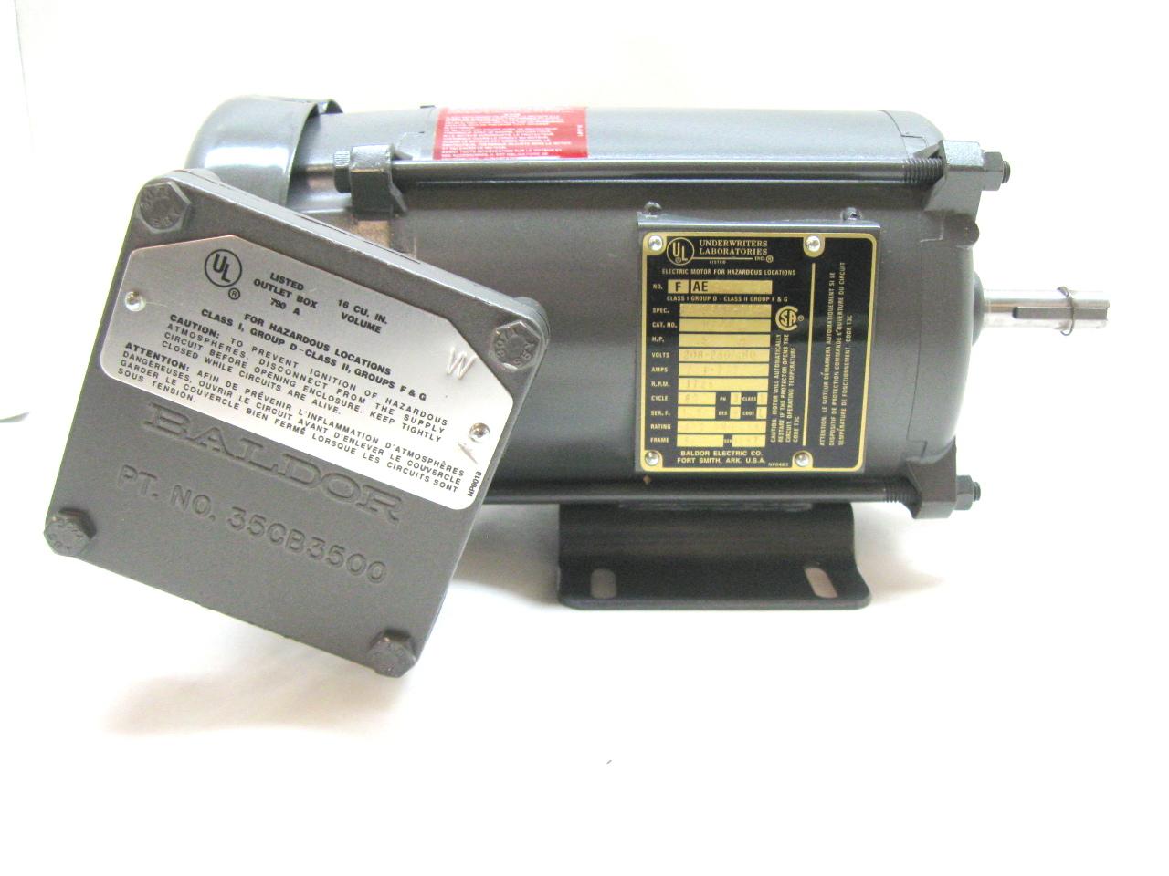 Baldor m7006a motor 5 hp 208 230 460 v 1725 rpm 3 phase for Baldor 2 hp single phase motor