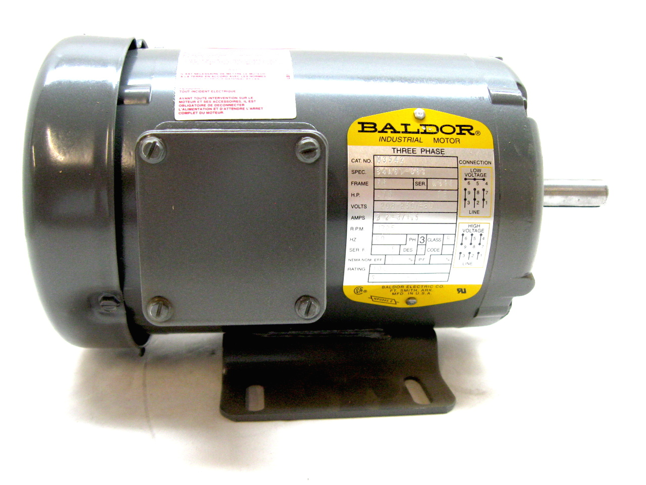 Baldor M3542 Three Phase Enclosed Motor 75 Hp 1725 Rpm 208