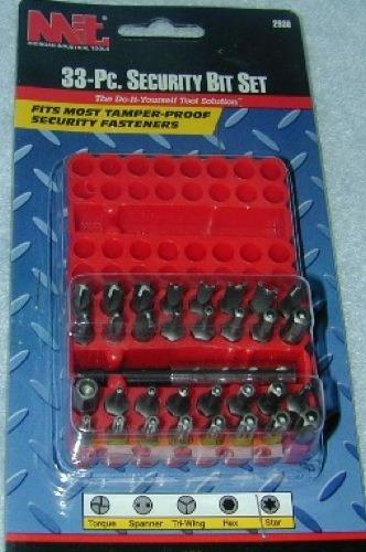 33-Pc. Security Bit Set- Fit most power drills.