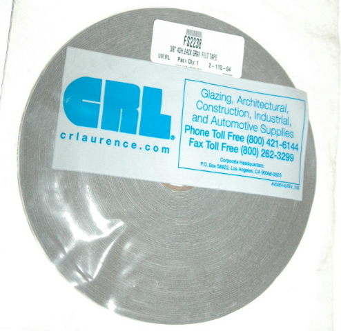 """CRL Gray 3/8"""" Adhesive Back Felt Tape for Building and Automotive. 2 ..."""