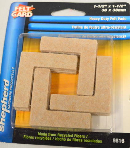 "Shepherd #9816 - 1.5""x1.5"" Heavy Duty Felt Pads. Self Adhesive - 8 per pack"