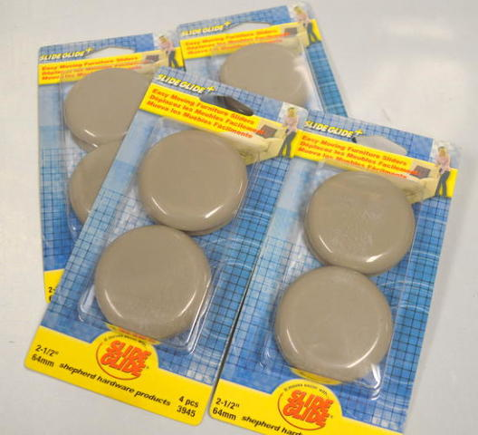 "Shepherd #3945 2 1/2"" SlideGlide+, self adhesive, 4 per pk, 4 packs."