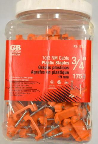 """Gardner Bender #PS-175JT 3/4"""" 10/3 NM Cable Plastic Staples - 175 Per Box"""