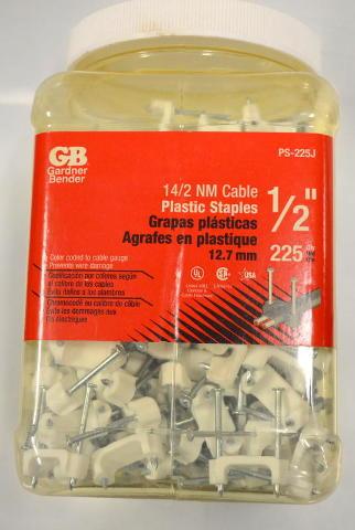 """Gardner Bender #PS-225J - 14/2 Cable Plastic Staples 1/2"""" - 225 per box."""