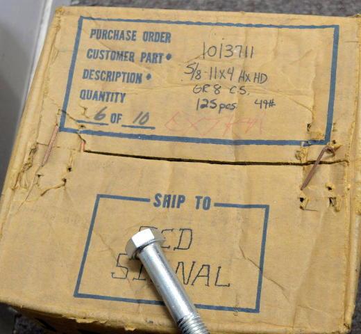 Grade 8 Plated Steel Hex Head 5/8-11x4 - 125 pcs box.